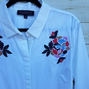 NWT Eloquii shirt dress 22 embroidered cotton